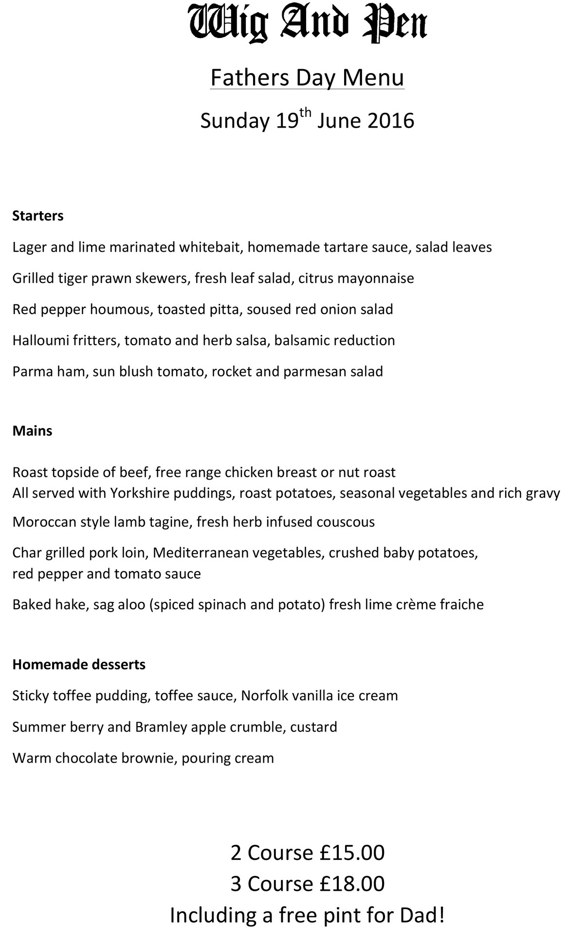 Father's Day Menu 2016